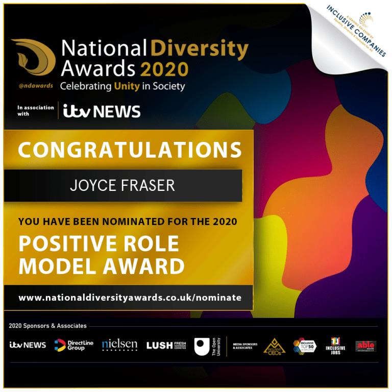 Ad Lumin Content Marketing:Joyce Fraser of Black Heroes Foundation is nominated for an award in the national diversity awards for positive role model.